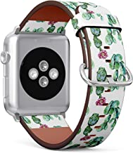 Compatible with Small Apple Watch 38mm & 40mm Leather Watch Wrist Band Strap Bracelet with Stainless Steel Clasp and Adapters (Cactus Floral)