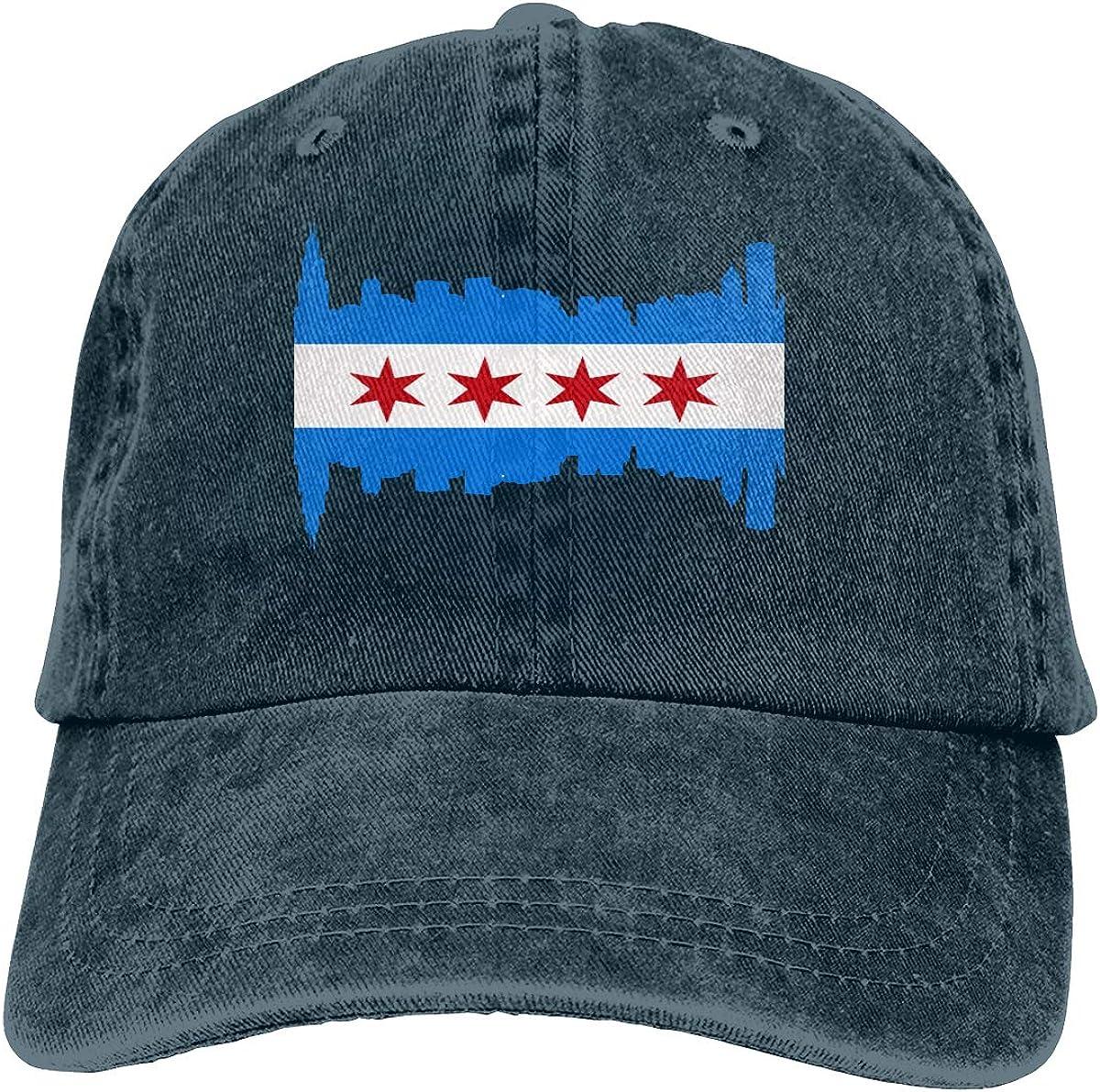 Chicago Flag Denim Hat Adjustable Plain Cap Baseball Caps
