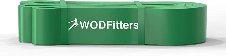 WODFitters Pull Up Assistance Band for Stretching, Mobility Workouts, Warm Up, Recovery, Powerlifting, Home Fitness and Exercise - Single Band (SINGLE #4 Green - 50 to 125 Pounds)