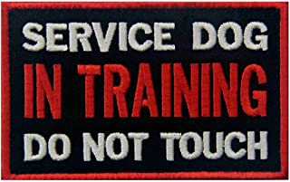Service Dog in Training Do Not Touch Vests/Harnesses Emblem Embroidered Fastener Hook & Loop Patch