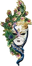 Design Toscano WU74139 Peacock Feather Masks of Venice Wall Sculpture, Full Color WU74139