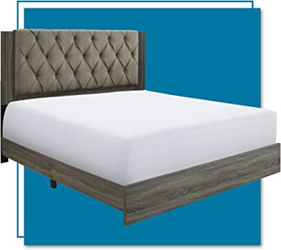 ClickDecor Kenton Upholstered Panel Bed with Diamond Tufted Wooden Headboard, Mattress Foundation, No Box Springs Needed, Wood Frame Slats Support with Easy Assembly, King, Gray