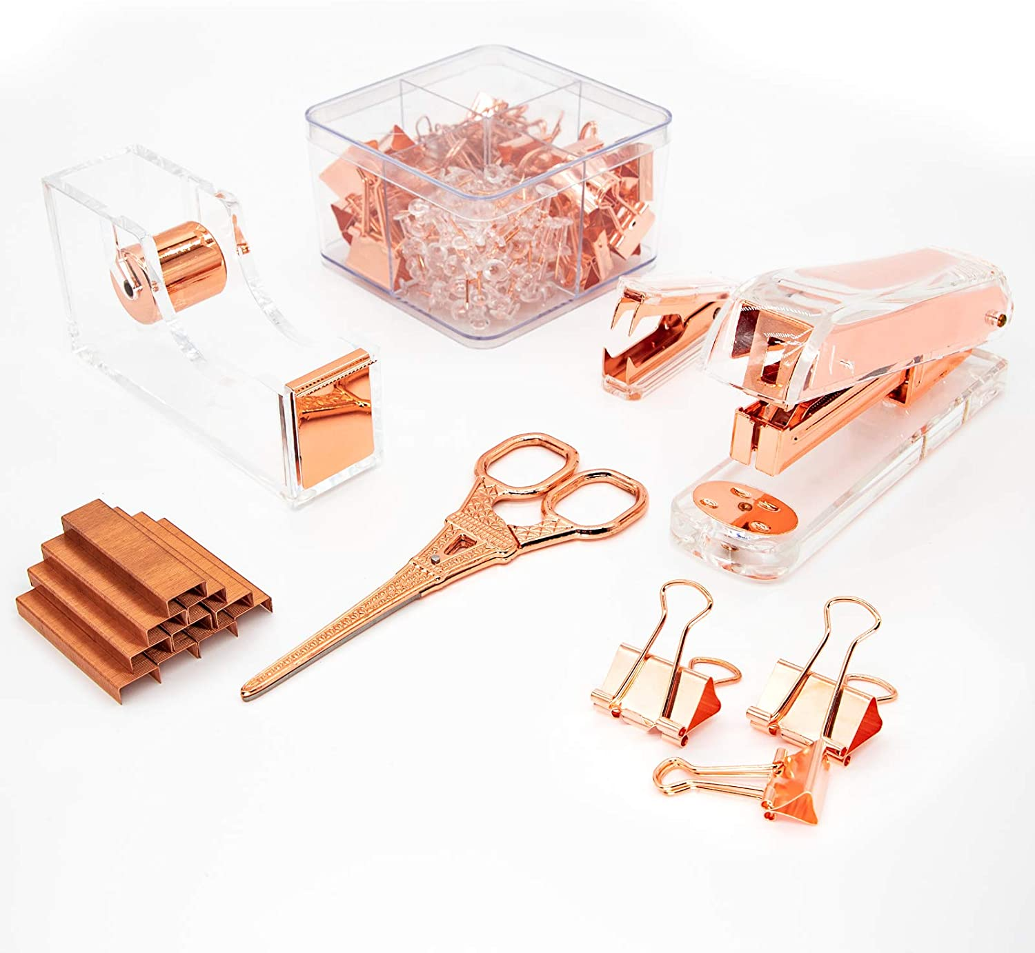 Gutyble Rosegold Office Supplies Set Contains Stapler Package Max 80% OFF Max 88% OFF Ta