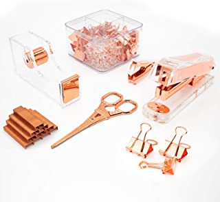 Gutyble Rosegold Office Supplies Set,Package Contains Stapler,Tape Dispenser,Staple Remover,Scissors,Binder Clips,Paper Cl...