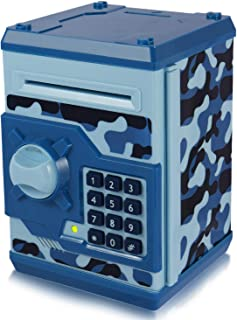Yoego New Kids Cartoon Electronic Money Bank, Security Piggy Bank Mini ATM Password Coins Money Savings Box Toys Smart Voice & Music Prompt,Code Lock for Children/Toy Gifts Birthday Gift (Blue Camo)