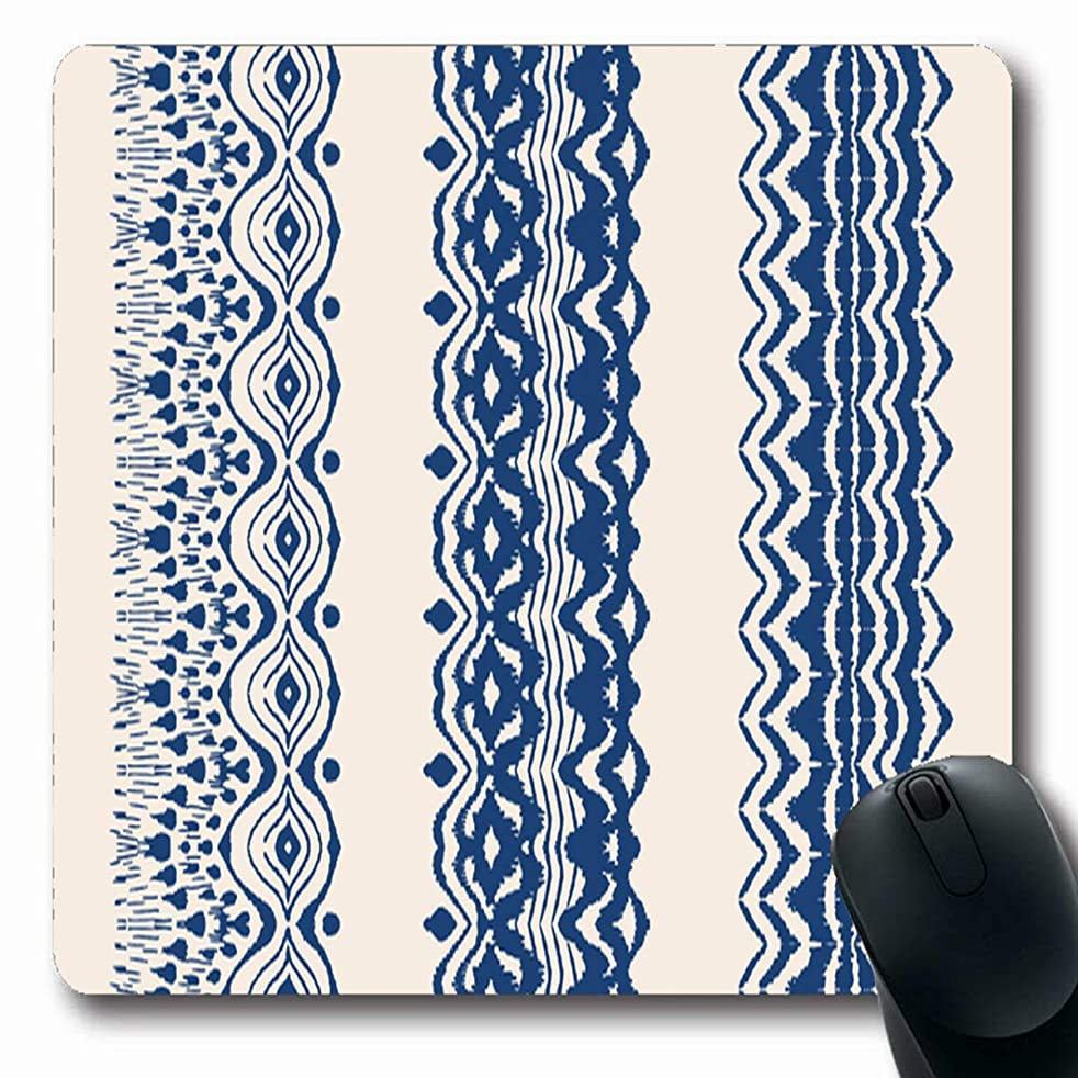Tobesonne Mousepads Tie Dye Brushes Lace Ethnic Necklace Indigo Ikat Pattern Shibori Stripes Chevrk Design Oblong Shape 7.9 x 9.5 Inches Non-Slip Gaming Mouse Pad Rubber Oblong Mat