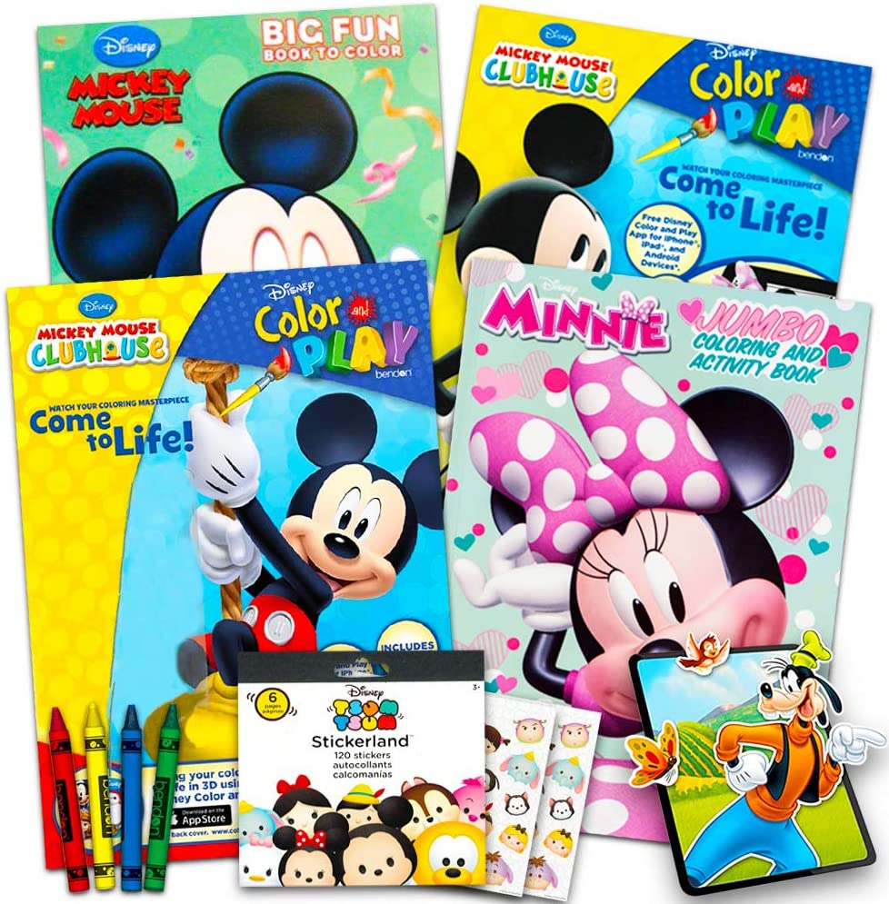 Amazon Com Disney Mickey Mouse Coloring Book Super Set With Stickers 4 Mickey Mouse Activity Books For Kids Toddlers Toys Games