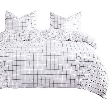 Wake In Cloud - Grid Comforter Set, White with Black Grid Geometric Modern Pattern Printed, Soft Microfiber Bedding (3pcs, Twin Size)