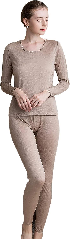 CLC Women's Wool Mulberry Silk Knitted Thermal Underwear Pajama Set