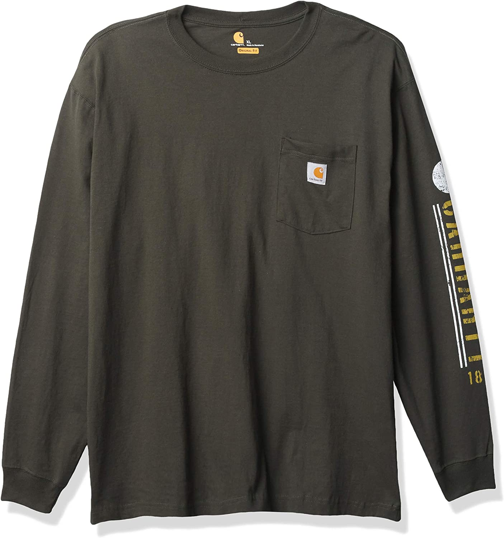 Carhartt Men's Big & Tall Relaxed Fit Heavyweight Long-Sleeve Pocket Logo Graphic T-Shirt, Peat, 30 Regular