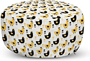 Lunarable Animals Ottoman Pouf, Agriculture Pattern with Farm Chickens Print and Graphic Tulips Image, Decorative Soft Foot Rest with Removable Cover Living Room and Bedroom, Black White and Mustard