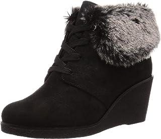 حذاء برقبة طويلة للكاحل من Cole Haan نسائي Coralie Wedge مقاوم للماء، أسود جلد سويدي Wp مقاس 5 B US