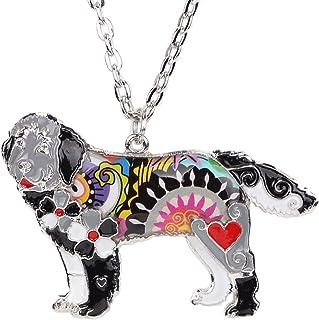 "BONSNY Dog Collection Magnum Statement Enamel Chain Newfoundland Hound Dog Necklace Pendant 18"""