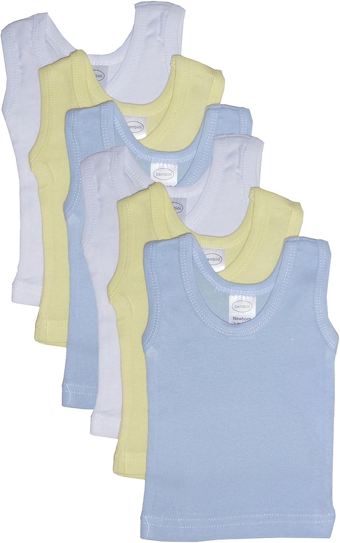 bambini Boy's Rib Knit Pastel Sleeveless Tank Top Shirt 6-Pack - NB