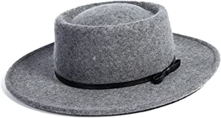 Jeff & Aimy 100% Wool Felt Fedora Floppy Brim Winter Hat Stylish Derby Church