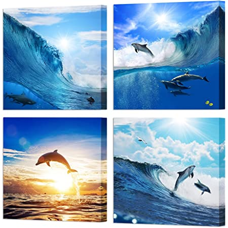 Beautiful Scenery of Two Jumping Dolphins on the Sea at Sunset 16x24 Canvas