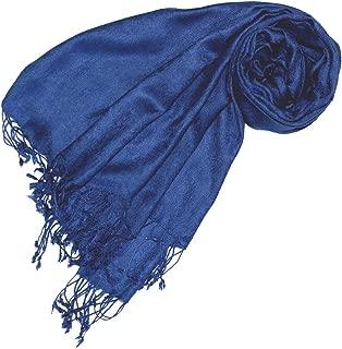 Designer Damenschal Pashmina hochwertiger Markenschal jacquard gewebtes Paisley Muster 60 x 200 cm Viskose harmonische blaue Farben Schaltuch Schal Tuch
