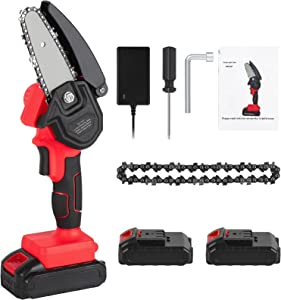 Mini Chainsaw Cordless with Two 2000mAh Batteries, 2.43 Pounds Handheld Chainsaw for Wood Cutting, 4-Inch Power Chain Saws for Tree Trimming, Small Pruning Shears for Garden