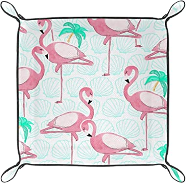 Leather valet Tray Multi-Purpose storage box Tray Organizer Used for storage of small accessories,Flamingo Animal Tropical Co