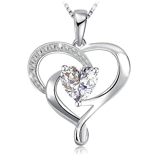 B.Catcher Femme Boucles doreilles Coeur en Argent 925 Gardien de lamour Saint-Valentin Zirconium cubique Cadeau