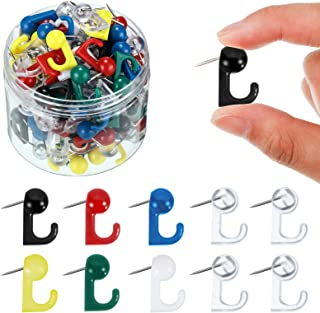 100 Pieces Push Pin Hooks Plastic Heads Pin Tacks Wall Push Pins Hangers for Cork Board Map Photos Calendar, Home Office S...