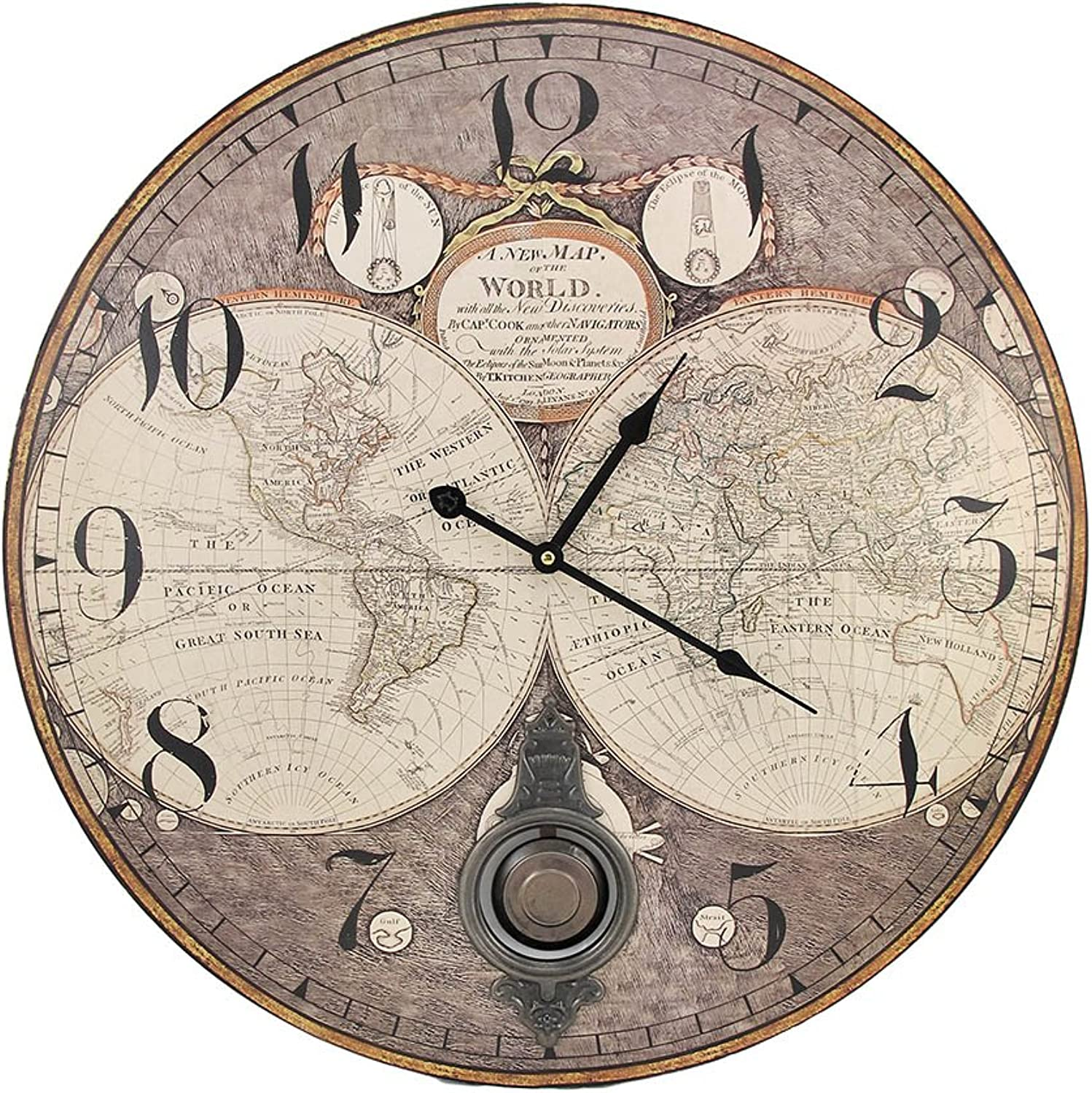 Things2Die4 Old World Map 23 Inch Diameter Pendulum Wall Clock