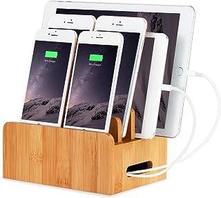 Cannelle 竹製 充電スタンド 卓上ホルダー モバイル機器をスッキリ収納 iPhone/iPad/Galaxy/Android各種適合 (ノーマル新ver)