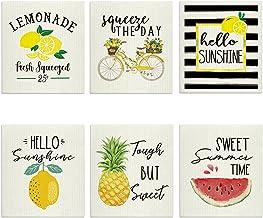 Artoid Mode Summer Lemon Bicycle Watermelon Pineapple Swedish Dishcloth, 8 x 7 Inch Seasonal Holiday Farmhouse Rustic Ultr...