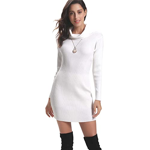 34adc33c852a Abollria Womens Long Sleeve Turtle Neck Chunky Cable Knitted Jumper  Knitwear Sweater Dress