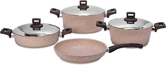 Alberto 7Pcs Granite Cookware W/Ss Lid & Soft Handles - Brownstone 100076447