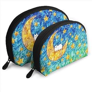 絵画「月と星とネコ」 2点セットシェルポーチコスメ柄バッグ化粧ポーチがま口ペンケース小物入れ収納バッグ大容量小銭入れ 旅行かばん 化粧品バッグ