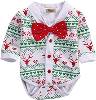 Newborn Baby Girl Boy Snowflake Coat+Romper Playsuit Christmas Outfits Clothes