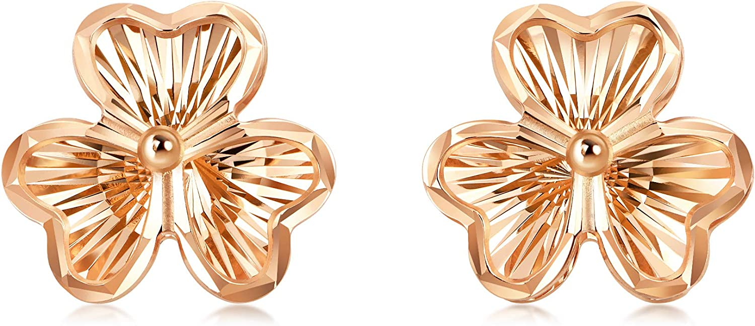 Chow Sang Sang 18K Rose Gold Hollow Carved Clover Stud Earrings for Women 92075E