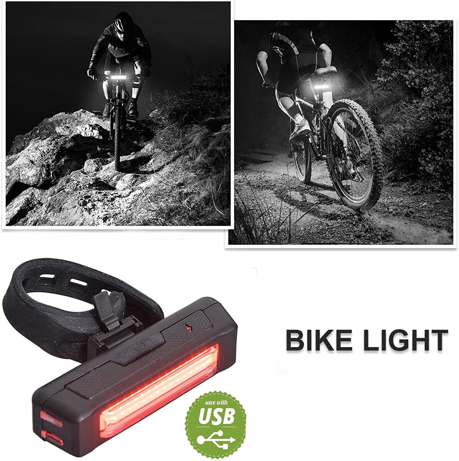 AITOO Bicycle Light Rear Rechargeable  [bluee+Red] Waterproof 6 Modes Bike Light USB Rechargeable LED Bicycle Tail Light Lamp Cycling Warning Rear Tail Light Safety Flashlight Rear Lamp  RED or bluee