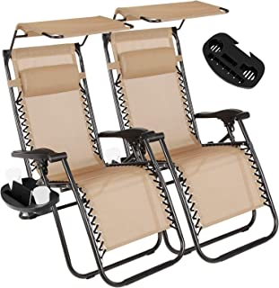 Vosson Folding&Adjustable Zero Gravity Lounge Chair 2 Pack Zero Gravity Chair for Patio Beach Outdoor Camping Pool Yard with Pillow&Canopy Shade&Cup Holder Tray(Tan)