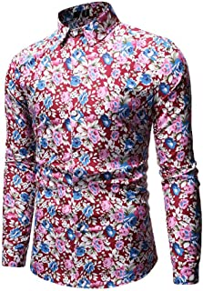 Benficial 2019 New Tops for Men,Men's Fashion Hawaiian Style Leisure Printing Long-Sleeved Shirt Tops Blouse