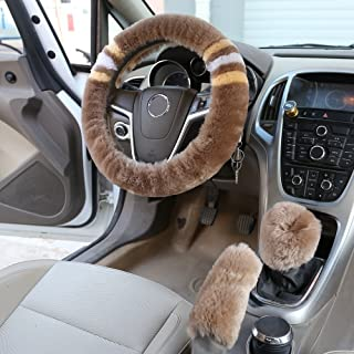 dotesy Winter Plüsch Auto Lenkrad Bezug in Weiches Australien reine Wolle Auto Rad Displayschutzfolie 38x 38cm 1Set 3pcs