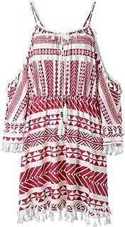 Elegante kleider Damen Kleid Cocktailkleider Ronamick Frauen ab Schulter Kleid Tassel Short Cocktail Party Strand Kleider Sommerkleid(S, Rot)