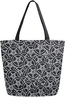 Satanic Sigil Baphomet Pentagram Canvas Tote Bags Shopping Reusable Grocery School Bag with Handles