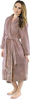 Womens Fleece Bathrobe - Shawl Collar Soft Plush Robe Spa...