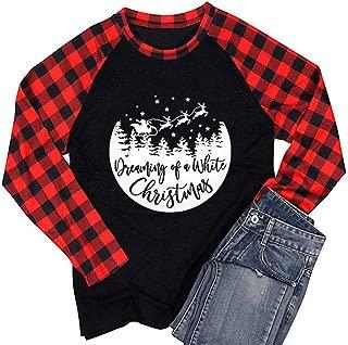 FEDULK Women Christmas Baseball Tee Tops Plaid Raglan Splicing Long Sleeve Casual Xmas Shirt Blouse