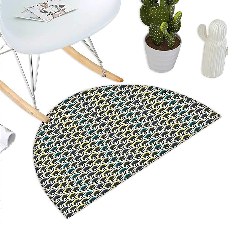 Geometric Semicircle Doormat Overlapping Hexagonal Shapes with Retro colord Chevron Elements Tile Halfmoon doormats H 43.3  xD 64.9  Black Sky bluee Yellow