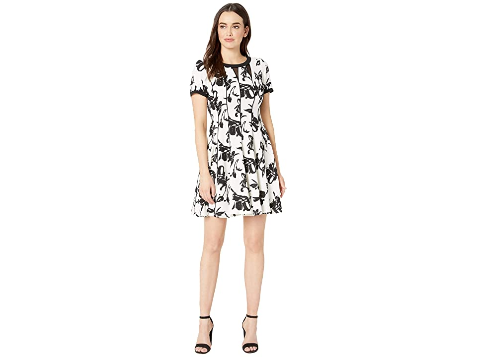 Taylor Short Sleeve Abstract Print Piped Dress (Ivory/Black) Women