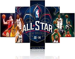 TUMOVO Extra Large NBA All-Star Game Pictures for Wall Art Paintings 5 Piece Canvas Living Room Decor Basketball Artwork House Decoration Poster Prints Stretched and Framed Ready to Hang - 60''Wx40''H