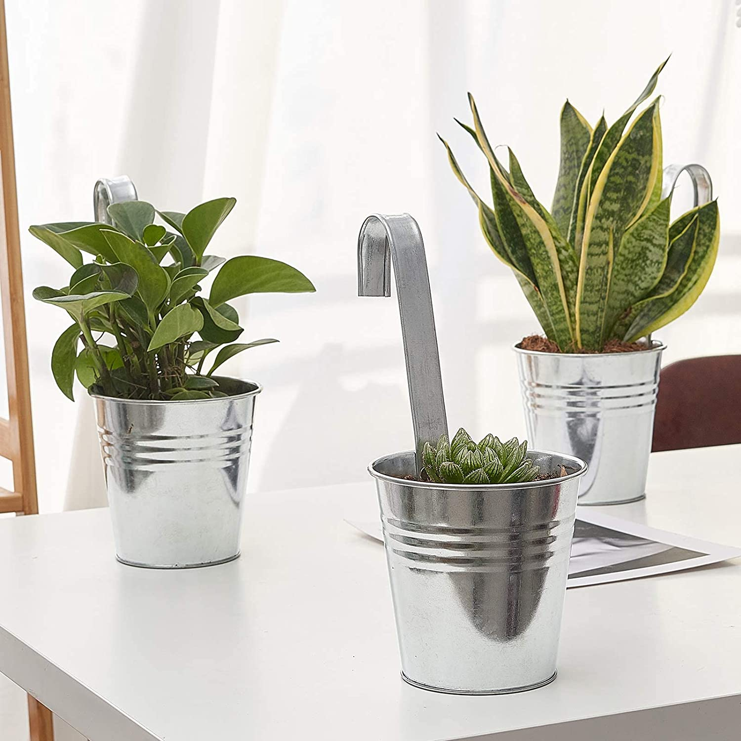 3Pcs Large New mail order Wall 40% OFF Cheap Sale Galvanized Metal Planter wi Iron Hanging Buckets
