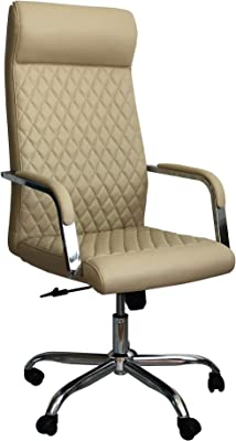 The Urban Port Adjustable Diamond Stitched Ergonomic Leatherette Office Swivel Chair with Casters, Beige and Chrome