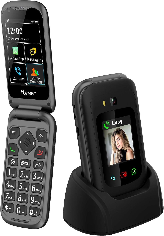 Funker E400I Comfort Pro - Telefono Móvil, Whatssapp 4G para Personas Mayores con Sistema Audio Pro, Amplificador y Compatible con Audífonos, Pantalla Táctil con GPS y Botón SOS, Facil de Usar (Negro)