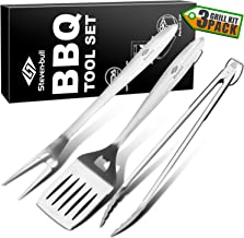 STEVEN-BULL Heavy Duty BBQ Grilling Tool Sets, Extra Thick Stainless Steel Spatula Fork and Tongs, Extra Long Grill Accessories, 18 Inch, Best for Barbecue & Grilling, Gift Box Package, 3 Pack