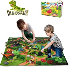 3 Kinds of Cars and Play Mat M SANMERSEN 44Pcs Dinosaur Play Set Jurassic World Educational Toys Set of 12 Realistic/Dinosaurs 10 Trees Newest Dinosaur Toys for 3-8 Years 18 Road Sign