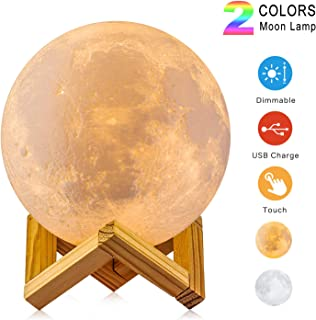 Moon Lamp, LOGROTATE 3D Printing 16 Colors RGB Led Moon Light with Stand and Timing Setting, Moon Light Lamps with Remote & Touch Control and USB Recharge (3.9 inch (2 Colors))